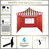 10'x10' Pop up Canopy Wedding Party Tent Gazebo EZ Red Stripe - F Model Commercial Frame By DELTA Canopies