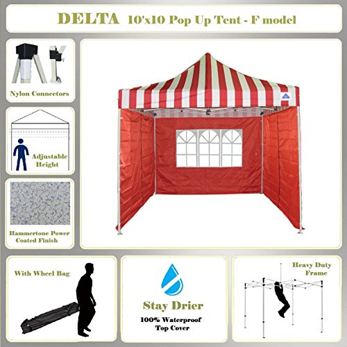 10'x10′ Pop up Canopy Wedding Party Tent Gazebo EZ Red Stripe – F Model Commercial Frame By DELTA Canopies