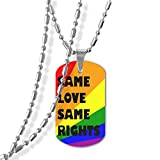 Same Love Same Rights Unisex Dog Tag Pendant Necklace Military Spec Zinc Alloy Dog Tags Necklace