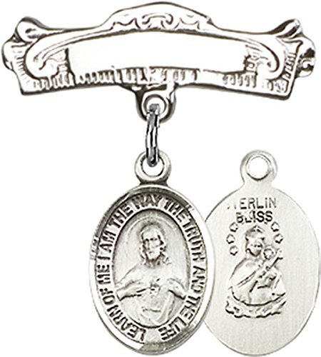 Sterling Silver Baby Badge Arched Pin with Scapular Charm, 7/8 Inch