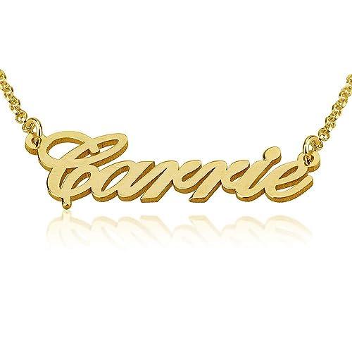 4de4cf9ebe45 14K Joyas Personalizadas Con Nombre De Oro Sólido - Collar Con Nombre -  Colgante a Medida