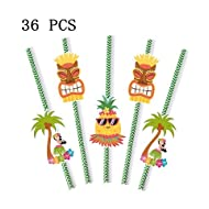 Lavenz 36PCS Aloha Party Favor Pineapple Coco Paper Straws Hawaii Luau Party Wedding Decoration Green Cactus Sea Strawhat Drinks
