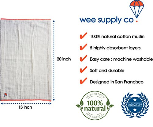 Burpy Set (3 Burp Cloths) - Premium 100% cotton muslin - Absorbent 5 thick layers - Super Soft - Ideal size (13'' x 20'') to protect from drips and drools - Gift set by wee supply co. (Image #5)