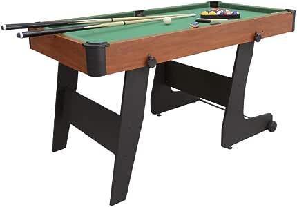 Devessport - Mesa de Billar plegable 152-Fácil montaje - Incluye todos los accesorios para poder jugar - Patas reforzadas para mayor estabilidad-Ideal para jugar con amigos-Medidas: 152 x 76 x 78 Cm: