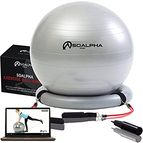 Amazon.com: soalpha premium exercise ball with 15lb resistance bands