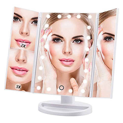 Makeup Mirror Lighted Vanity Mirror with 21 LED lights 3X/2X Magnifying Led Makeup Mirror with Adjustable Touch Screen by DreamGenius