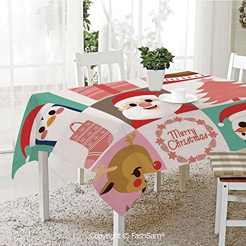 AmaUncle 3D Dinner Print Tablecloths Popular Noel Icon Happy Penguin Reindeer Santa Claus Snowman in Flat Design Table Protectors for Family Dinners (W55 xL72) -