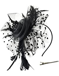 Fascinators Hat Flower Mesh Ribbons Feathers on a Headband and a Clip Tea  Party Headwear for 81d00fdbfa7