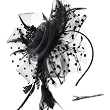 DRESHOW Fascinators Hat Flower Mesh Ribbons Feathers On a Headband and a Forked Clip Cocktail Tea Party Headwear For Girls and Women