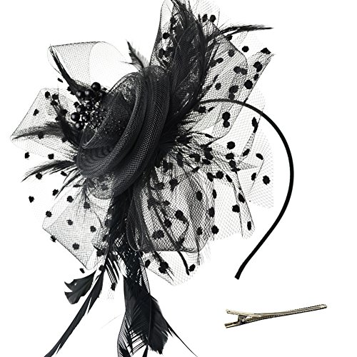 DRESHOW Fascinators Hat Flower Mesh Ribbons Feathers on a Headband and a Clip Tea Party Headwear for Girls and Women (Rose Red England Tea)