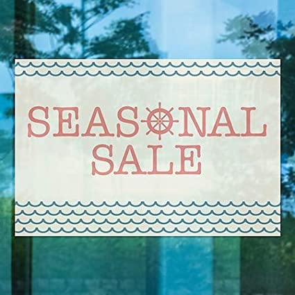 Seasonal Sale Nautical Wave Window Cling CGSignLab 5-Pack 36x24