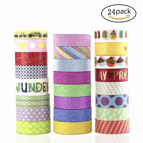 HONESTY 24 Rolls Washi Masking Tape Decorative Tape For DIY Crafts And Gift Wrapping Office Party Supplies Easy To Paste Take (Homemade Halloween Decorations Easy To Make)