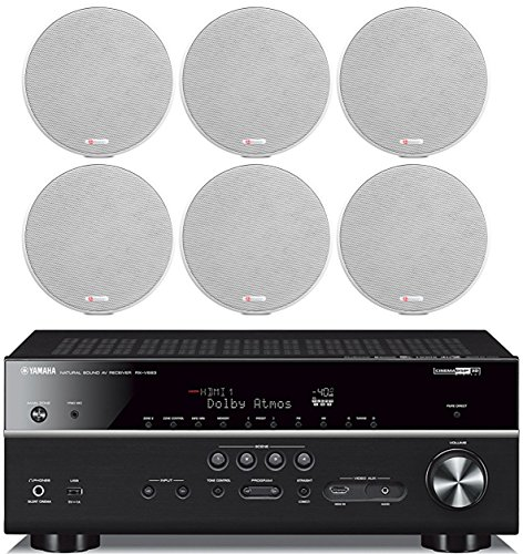 Yamaha 7.2-Channel Wireless Bluetooth 4K Network A/V Wi-Fi Home Theater Receiver + Boston Acoustics 5-1/4″ 2 Way High-Performance Natural Surround Sound in-Ceiling Speaker System (Set of 6)