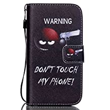 S4 Mini Case,Galaxy S4 Mini Case,GOODTONY [Wallet Function] Magnetic Snap skin Premium PU Leather Folio Wallet Flip Hand Strap Case Cover for Samsung Galaxy S4 Mini i9190 (Don't Touch My Phone 2)