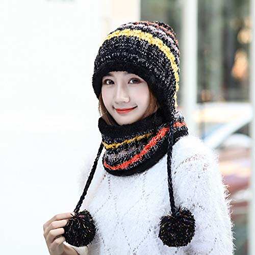 ihreesy Women's Knitted Beanie Cap with with Earflap Pom Pom Ball, Scarf Two Peice Set Winter Snow Ski Hat - Black