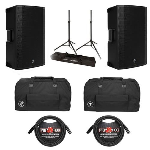 Mackie 2 Pack Thump Series Boosted 1300W Advanced Active Powered Loudspeaker - Bundle with 2 Mackie Canvas Bags, Ultimate JS-TS50 Tripod-Style Speaker Stand, Pair 2 Pack 20' 8mm XLR Microphone Cable