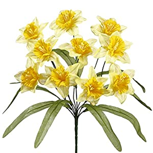"17"" Narcissus Daffodil Silk Flower Bush -2 Tone Yellow (Pack of 24) 13"