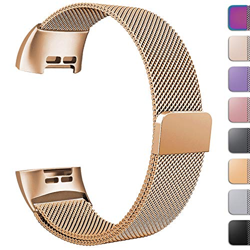 GEAK Replacement Compatible Fitbit Charge 3 Bands /Charge3 SE Metal Bands for Women Men, Premium Stainless Steel Loop with Magnetic Lock Accessories Bands for Fitbit Charge3, Small Royalgold