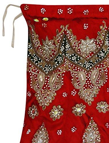 Long Femmes Vintage Vif Jupe Lehenga Tissu Rouge Occasion Bridal Main Perles Filet d0prqw0