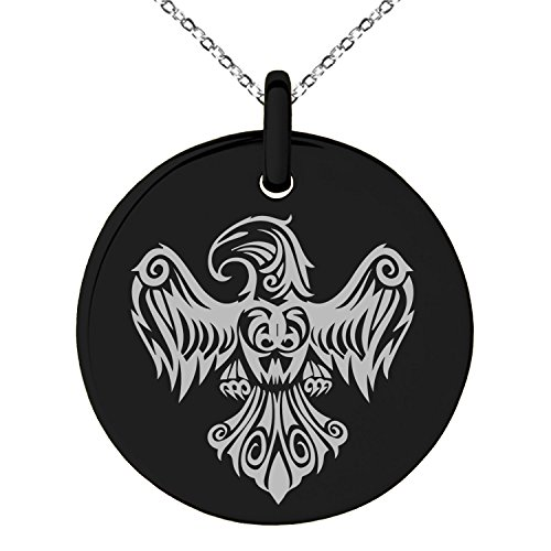 Black Stainless Steel Aztec Power Strength Courage Rune Symbol Engraved Small Medallion Circle Charm Pendant Necklace (Black Power Medallion)
