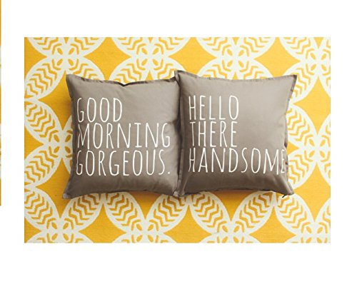 Good Morning Gorgeous & Hello There Handsome Pillow Cover Set - Home Decor, Cushion Cover, Gift for Her, Gift for Him, Gift for Mom, Gift for Dad, Mothers Day, Father Day, 16x16, Couple Gift
