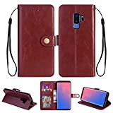 Ostop Samsung Galaxy S9 Leather Wallet Case,Brown Classic Oil Wax PU Stand Purse Credit Card Slots Holder Flip Stylish Simple Cover Retro Metal Clasp Samsung Galaxy S9