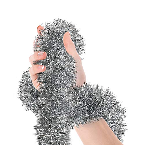 Christmas Silver Tinsel Garland Metallic Streamers Celebrate a Holiday New Years Eve Happy Party Indoor and Outdoor Disco Party Decorations Supplies (Christmas And Pink Silver)