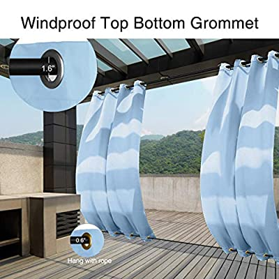 Pro Space Outdoor Curtain Panel for Pergola/Porch/Patio — 2 Panels Rustproof Grommet Top and Bottom Blackout Curtains Privacy Windows Drapes 50