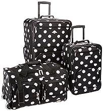 Rockland Vara Softside 3-Piece Upright Luggage Set, Black dot