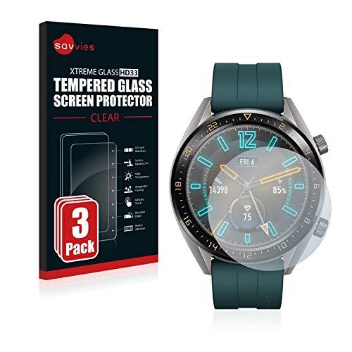 Savvies Panzerglas kompatibel mit Huawei Watch GT Active (3 Stück) – Echt-Glas, 9H Härte, Anti-Fingerprint