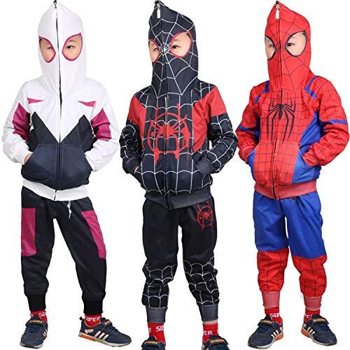 CHECKIN Toddler Kids Spider-Verse Miles Morales Gwen Noir Peter Hoodie Jacket Sweatshirt Costume 3T-7T (6T/ Fit for Height 120-125CM, Miles -