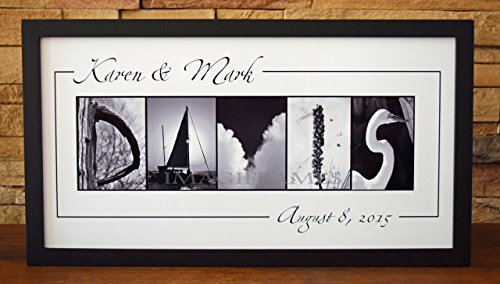 Wedding Name Sign With Date Framed Photo Letter Art - Personalized Alphabet Photography