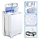 KUPPET Portable Washing Machine, 17lbs Compact Twin Tub Washer and Spin Dryer Combo for Apartment, Dorms, RVs, Camping and More