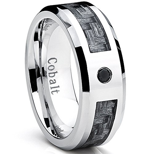 Cobalt Men's Wedding Band Ring with Gray Carbon Fiber Inlay and 0.04 Black Diamond, 8mm Size (Mens Rings Size 10 Diamond)
