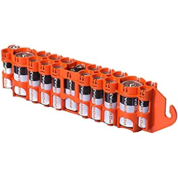 Storacell by Powerpax PBC Original Multi-Pack Battery Caddy, Orange