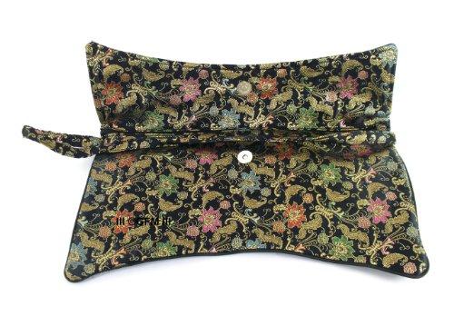 GFM), diseño oriental con forma de sobre con tela de raso bolsa de embrague–tamaño grande Burgundy Floral
