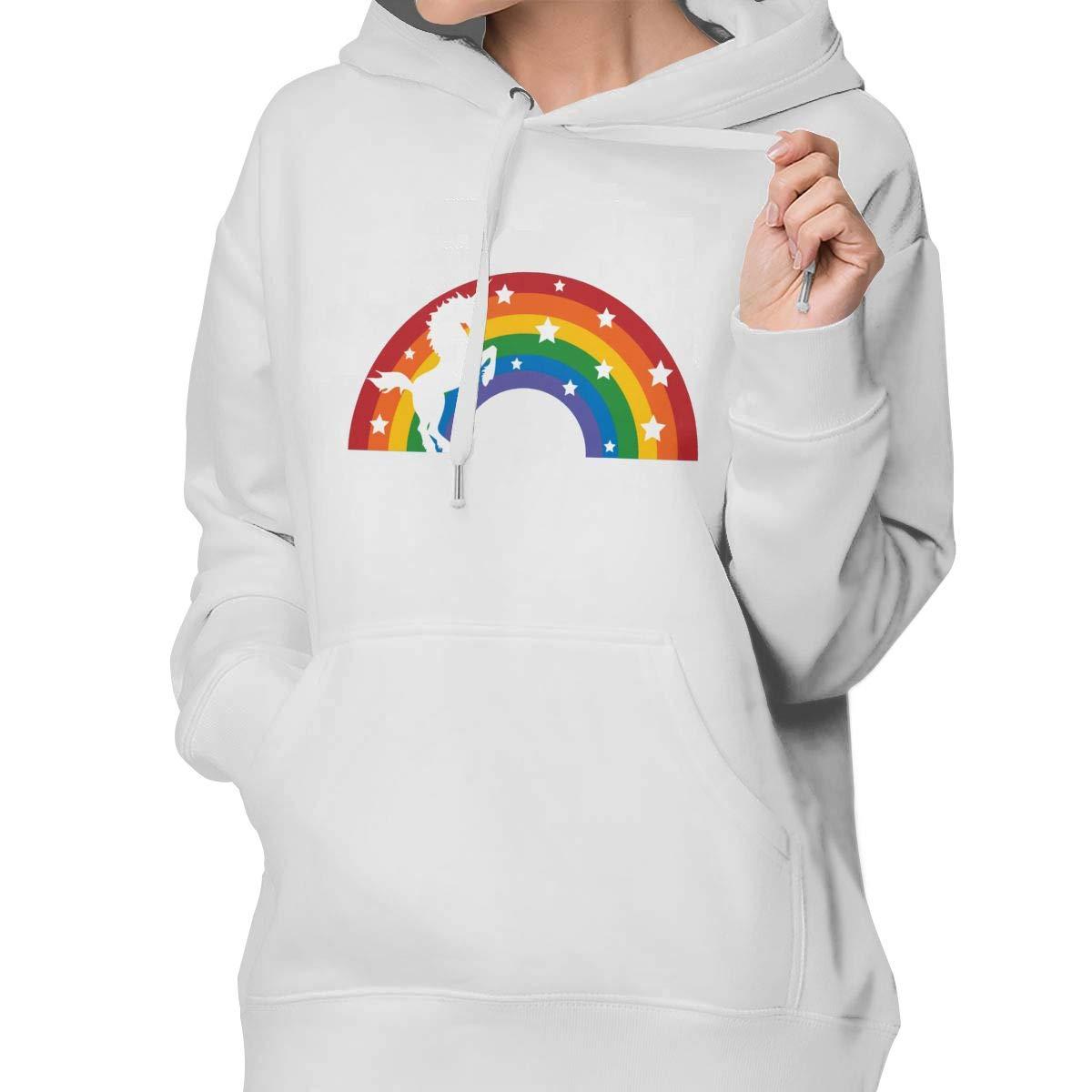 Aiguan Retro Rainbow Unicorn Womens Hoodie Sweatshirt with Pocket