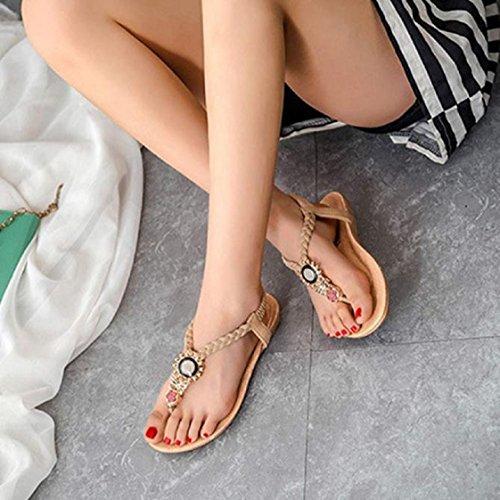 Sandales Bohemia Perles été Douces Nouveau Beige Clip Sandals Toe Design Beach 2016 Vovotrade® Chaussures 4qf8Rq