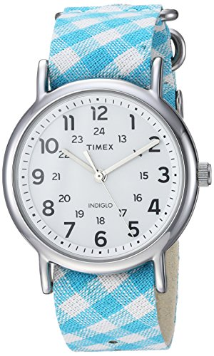 Timex Women's TW2R24400 Weekender 38mm Teal Gingham Nylon Slip-Thru Strap Watch