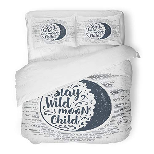 (Emvency 3 Piece Duvet Cover Set Brushed Microfiber Fabric Breathable Halloween Label with Full Moon and Stay Wild Child Inspirational Lettering Bedding Set with 2 Pillow Covers King Size)