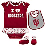 NCAA Indiana Hoosiers Newborn & Infant Team Love Bib & Booties Set, Victory Red, 3-6 Months