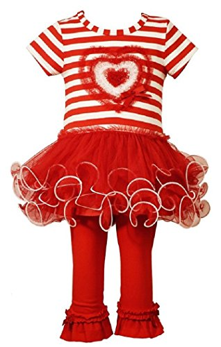 Heart Appliques Red Polyester (Bonnie Jean Little Girls Heart Appliqued Tutu Playwear Set, Red, 2T)
