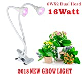 2018 New LED Grow Lights, 16W Desk Clip Plant Grow Light with 360° Flexible Gooseneck ,Super Long Cable with Spring Clamp for Indoor Plants Hydroponics Greenhouse Gardening Plant (16W)