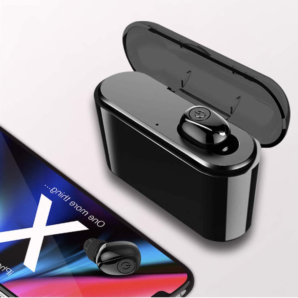 Unine Bluetooth 4.2 Headphones True Single Wireless Earbuds with Charging Case, HD HI-FI Stereo in-Ear Ear Buds Headset,Mini Pocket Charge Box,Built-in Mic Earphones for Phone Android iOS