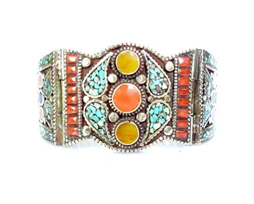 Tibetan Silver Turquoise Bracelet - Tibetan Silver Turquoise bracelet Coral bracelet boho bracelet fashion bracelet Tibetan bracelet cuff bracelet unisex men women
