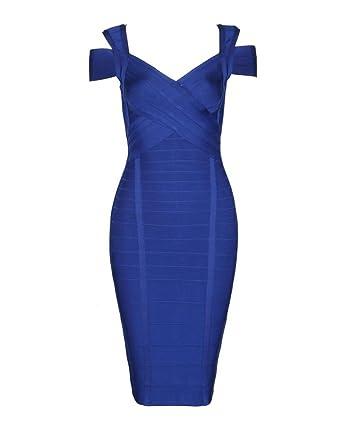 Whoinshop Rayon Damen Sexy Clubwear V Ausschnitt Kleider Figurbetontes Blau Partykleid Xs Bodycon qMSUzVpG
