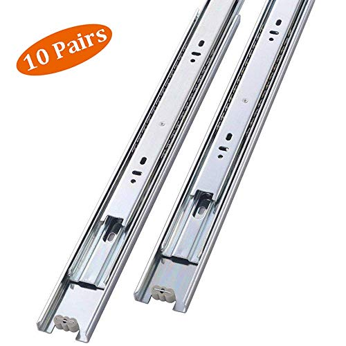 Mondaufie 10 Pair of 16 Inch Side Mount Sliding Full Extension Drawer Slides,Ball Bearing Drawer Slide Available in 14