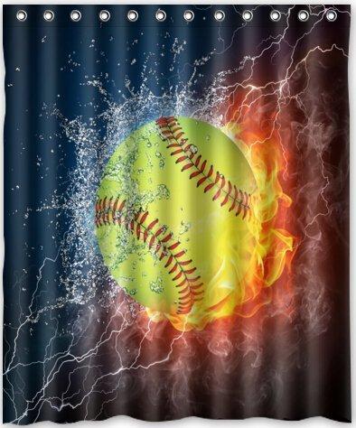 HOT Design Yellow Softball Shower Curtain 60quotw X 72quoth