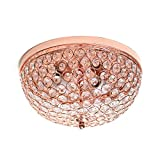 Elegant Designs FM1000-RGD 2 Light Elipse Crystal Flush Mount Ceiling Light, Rose Gold