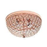 Cheap Elegant Designs FM1000-RGD 2 Light Elipse Crystal Flush Mount Ceiling Light, Rose Gold
